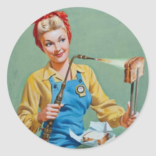 Rosie the Riveter Makes Toasted Cheese Round Stickers
