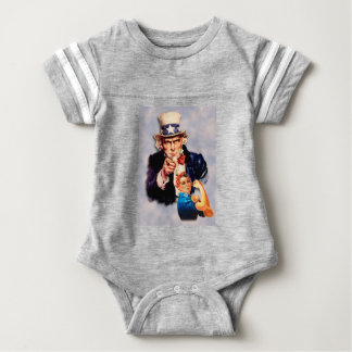 Rosie the Riveter & Uncle Sam design Baby Bodysuit
