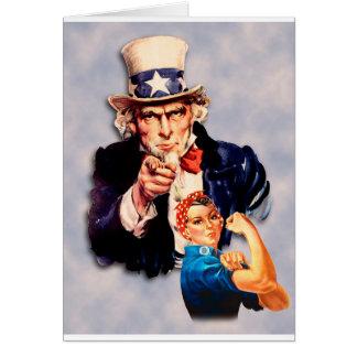 Rosie the Riveter & Uncle Sam design Card
