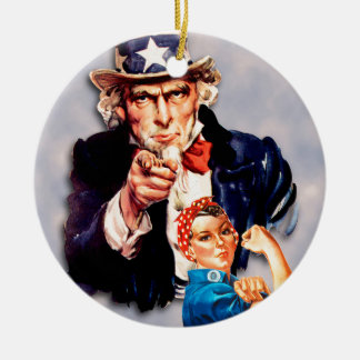 Rosie the Riveter & Uncle Sam design Ceramic Ornament