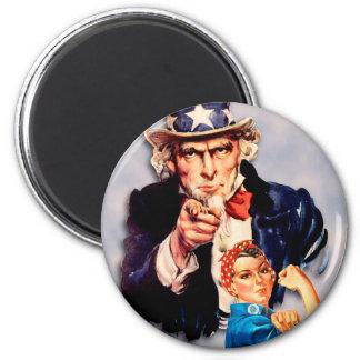 Rosie the Riveter & Uncle Sam design Magnet