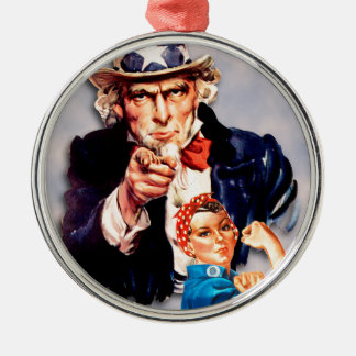 Rosie the Riveter & Uncle Sam design Metal Ornament