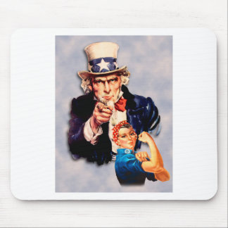 Rosie the Riveter & Uncle Sam design Mouse Pad
