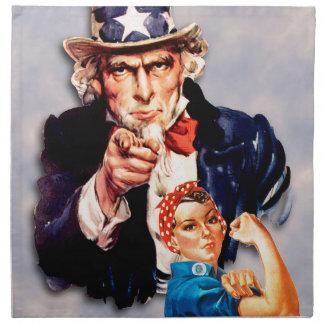 Rosie the Riveter & Uncle Sam design Napkin