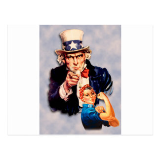 Rosie the Riveter & Uncle Sam design Postcard