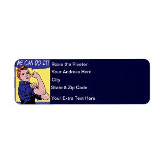 Rosie the Riveter We Can Do It! POP Art Style Return Address Label