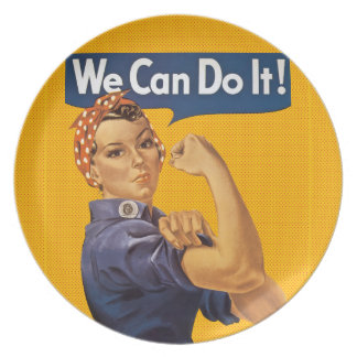 Rosie the Riveter We Can Do It! Red Polka Dots Dinner Plate