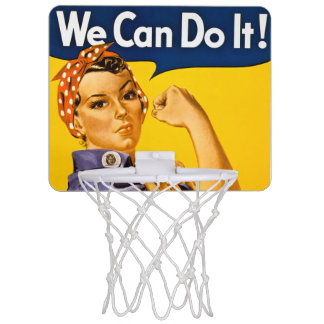 Rosie the Riveter We Can Do It Vintage Retro Mini Basketball Hoop
