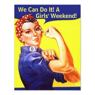 "Rosie The Riveter We Can GIRLS FRIENDS' INVITATION 4.25"" X 5.5"" Invitation Card"
