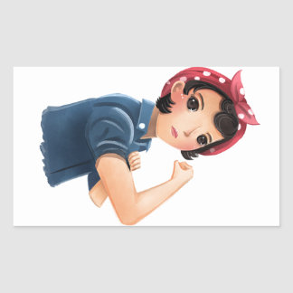 rosie the riveter women we can do it! WWII Rectangular Sticker