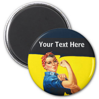 Rosie The Riveter WW2 War Effort Working Woman 6 Cm Round Magnet