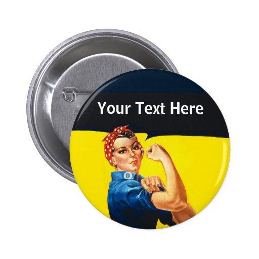 Rosie The Riveter WW2 War Effort Working Woman Pins