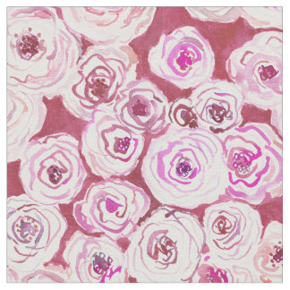 ROSIE VIEW Red Rose Floral Pattern Fabric