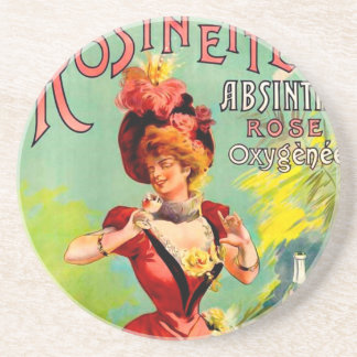 Rosinette Absinthe Rose Oxygénée Vintage Fine Art Coaster