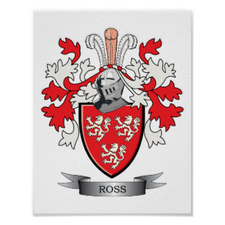 Ross Family Crest Coat of Arms Poster