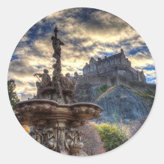 Ross Fountain And Edinburgh Castle Classic Round Sticker