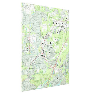 Roswell Georgia Map (1992) Canvas Print