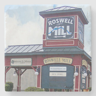 Roswell Mill Sign, Georgia Marble Stone Coaster. Stone Coaster