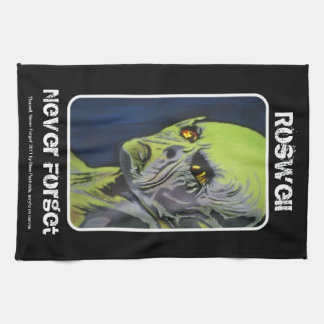 'Roswell, Never Forget' Alien, UFO American MoJo K Kitchen Towels