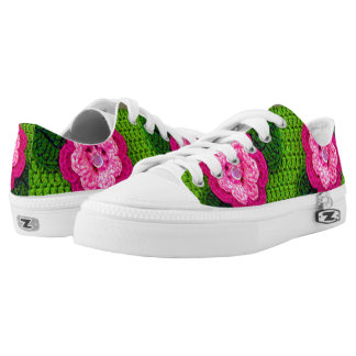 Rosy Bright and Hot Pinks Floral Greens Crochet Low Tops