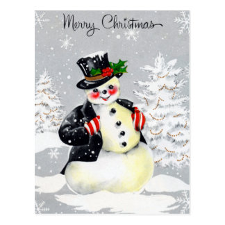 Rosy Cheeked Snowman With Top Hat Coat and Mittens Postcard