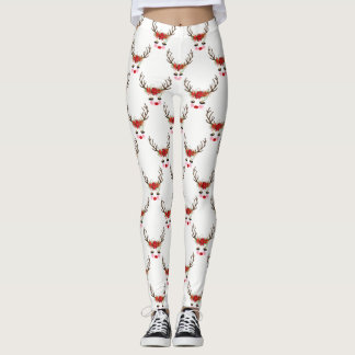 Rosy Cheeks Gold Eyes Floral Reindeer Holiday Leggings
