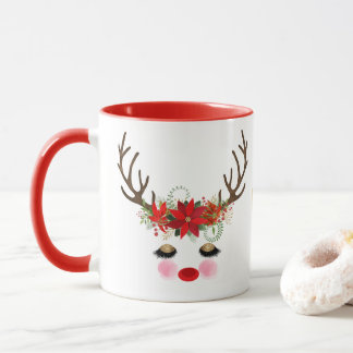 Rosy Cheeks Gold Eyes Floral Reindeer Holiday Mug