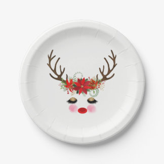 Rosy Cheeks Gold Eyes Floral Reindeer Holiday Paper Plate