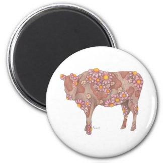 Rosy Cow 6 Cm Round Magnet