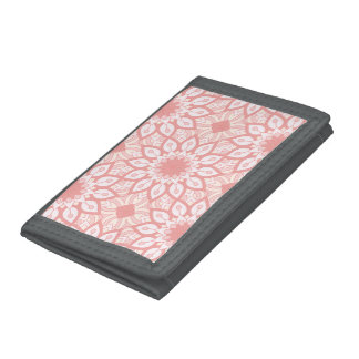 Rosy floral mandala geometric pattern tri-fold wallet
