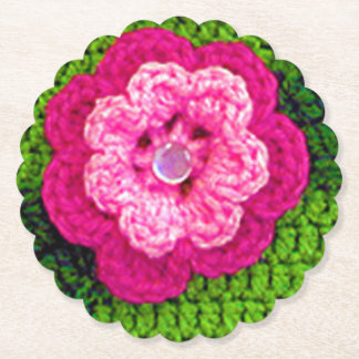 Rosy Flower Crochet Print Reusable Round Scallop Paper Coaster