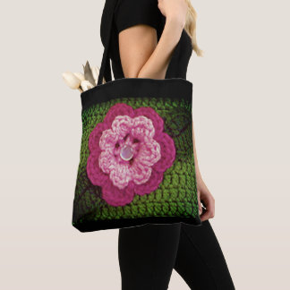 Rosy Pink Flower Natural Green Crochet Print on Tote Bag