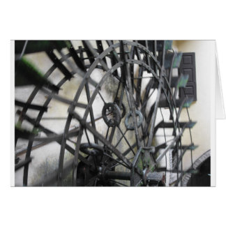 Rotary motion of the water wheel in a watermill card