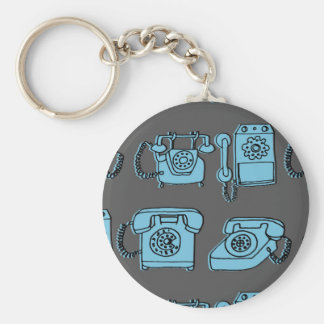 Rotary Phone - Charcoal/Soft Blue / Andrea Lauren Basic Round Button Key Ring