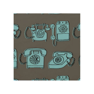 Rotary Phone - Charcoal/Soft Blue / Andrea Lauren Wood Canvases