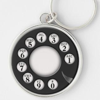 Rotary Phone Dial Silver-Colored Round Key Ring