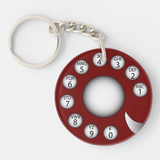 Rotary Phone Dial (Red) Acrylic Keychain