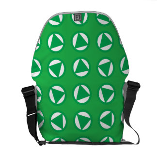 Rotating arrows blue green courier bags