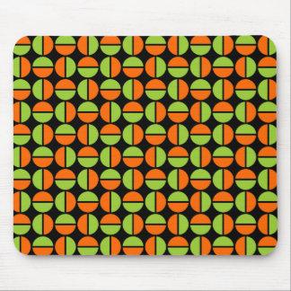 Rotating Circles - Green and Orange on Black Mouse Pad