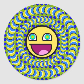 Rotating Rings Optical Illusion Round Sticker