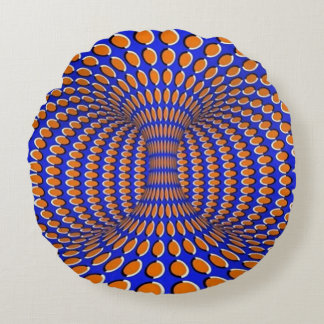 Rotating Vortex Optical Illusion Round Cushion