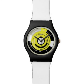 ROTATIONS | black white and yellow circles Watch