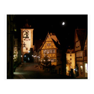 Rothenburg Germany in Moonlight Postcard