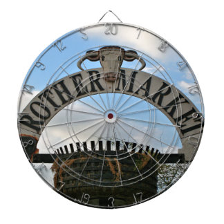 Rother Market sign, Stratford, England Dartboard
