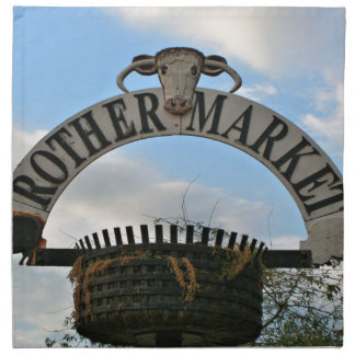 Rother Market sign, Stratford, England Napkin
