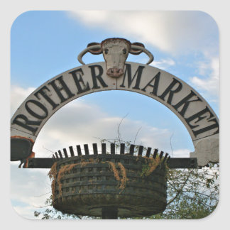 Rother Market sign, Stratford, England Square Sticker
