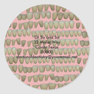 Rotten Teeth Dentist Dentistry Orthodontics Pink Classic Round Sticker
