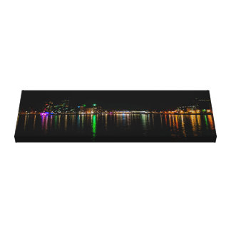 Rotterdam Harbor at night Landscape Single Canvas