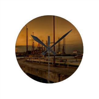 Rotterdam harbor by night round clock