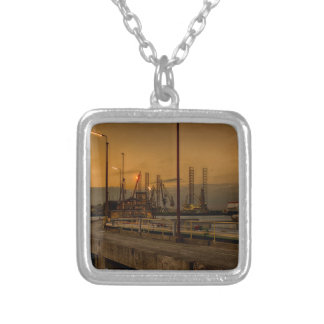 Rotterdam harbor by night silver plated necklace